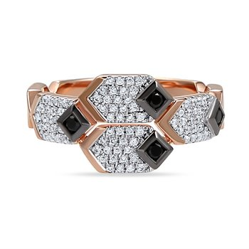 beautiful 14K art deco ring 80 diamonds 0.24CT & 4 black diamonds 0.12CT
