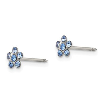 Inverness Stainless Steel Blue Crystal Post Earrings