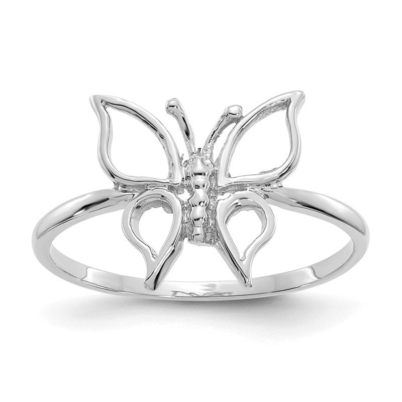 Quality Gold 14k White Gold Polished Butterfly Ring
