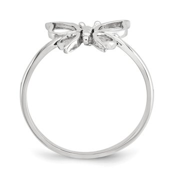 14k White Gold Polished Butterfly Ring