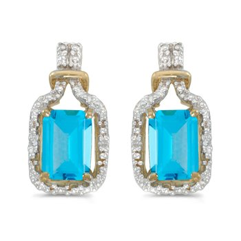 14k Yellow Gold Emerald-cut Blue Topaz And Diamond Earrings