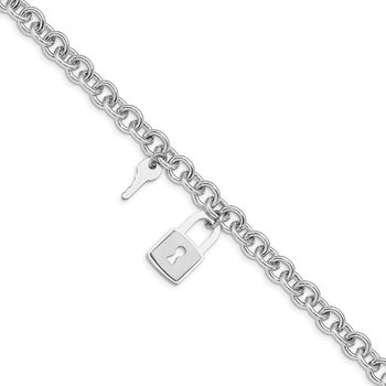 Sterling Silver Rhodium-plated Lock and Key Bracelet