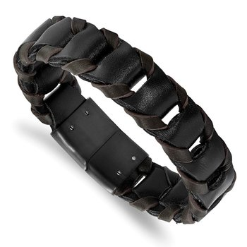 Stainless Steel Polished Black IP-plated Black/Brown Leather Bracelet