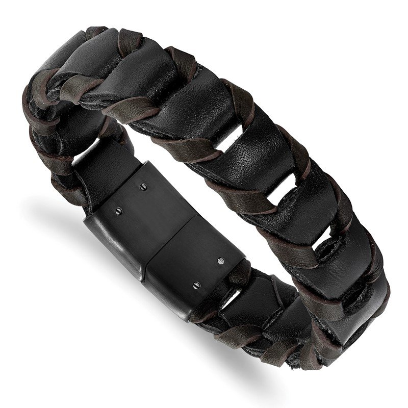 Chisel Stainless Steel Polished Black IP-plated Black/Brown Leather Bracelet
