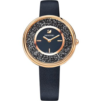 Crystalline Pure Watch, Leather strap, Black, Rose-gold tone PVD