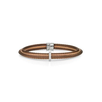 Classique Bronze and Rose Cable Bangle with Center Bar Diamond, White Gold Station