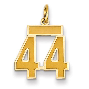 14k Small Satin Number 44 Charm