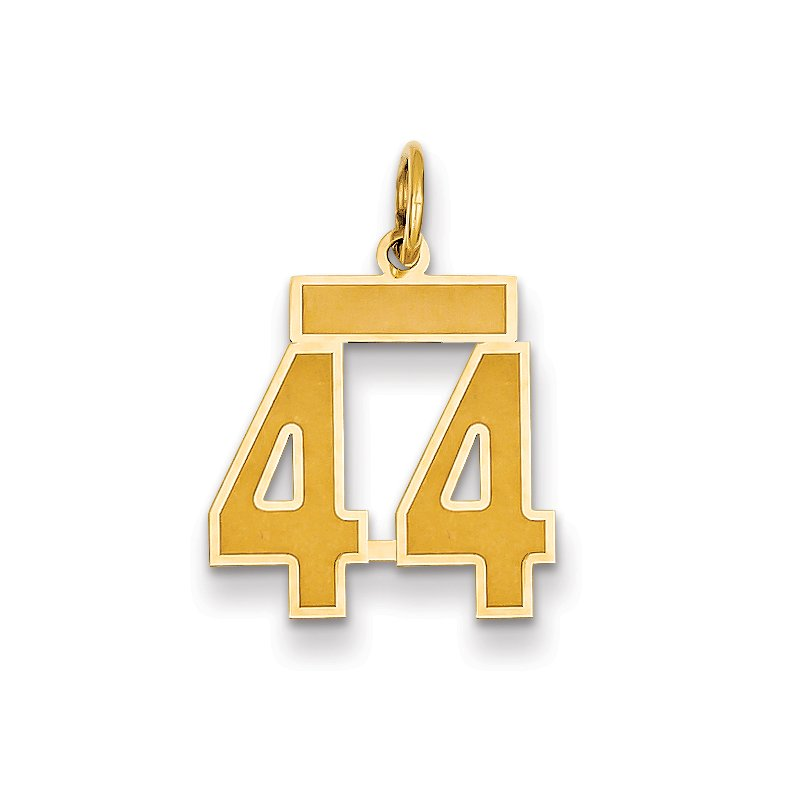 Quality Gold 14k Small Satin Number 44 Charm
