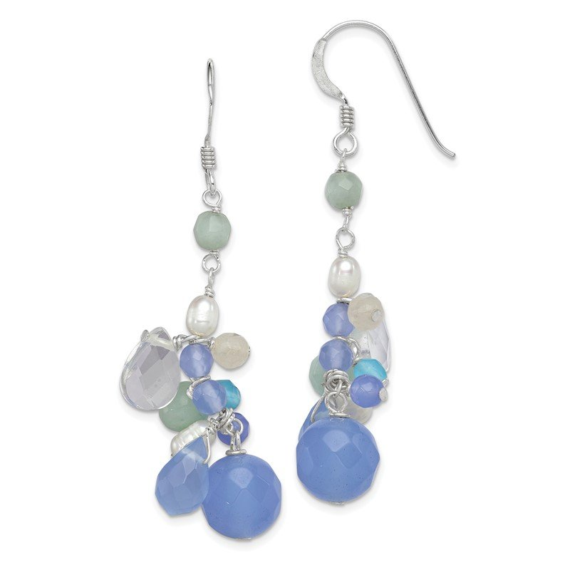 Quality Gold Sterling Silver Bl. Lace Agate/Opalite Cryst/Amazonite/FWC Pearl Earrings