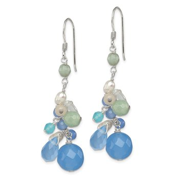 Sterling Silver Bl. Lace Agate/Opalite Cryst/Amazonite/FWC Pearl Earrings