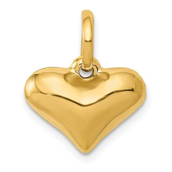 14K Polished 3-D Puffed Heart Pendant