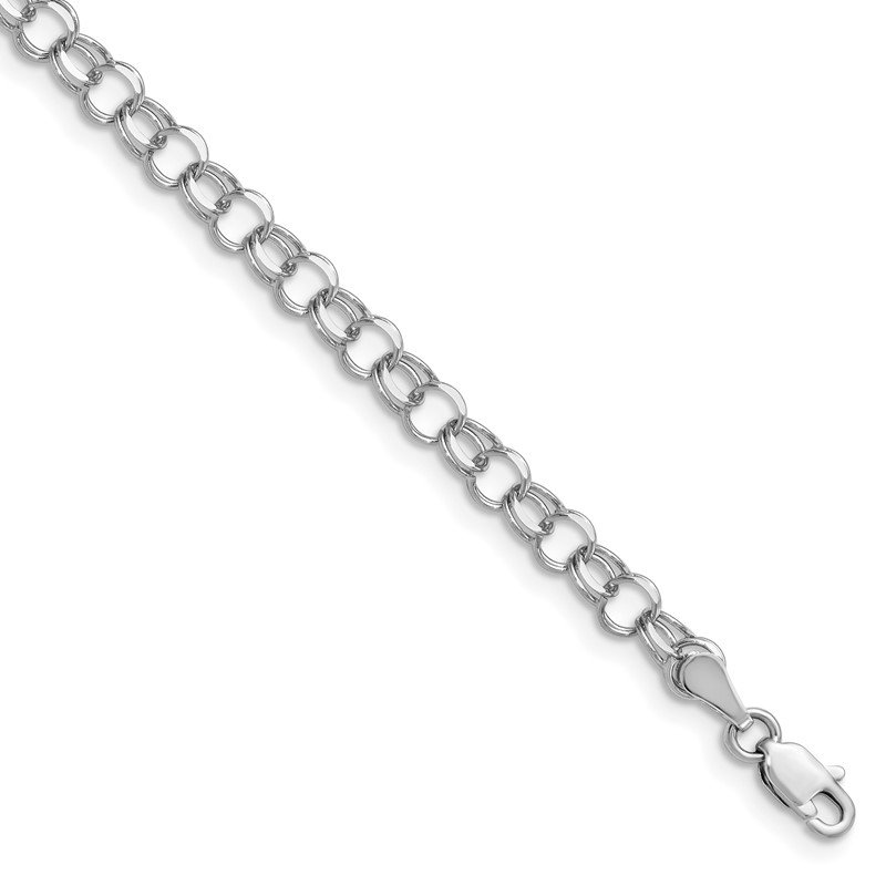 Quality Gold 14k White Gold Double Link Charm Bracelet