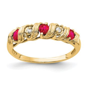14k 2.75mm Ruby AA Diamond ring