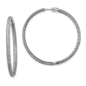 Sterling Silver Rhodium-plated CZ In and Out Round Hoop Earrings