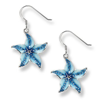 Blue Starfish Wire Earrings.Sterling Silver