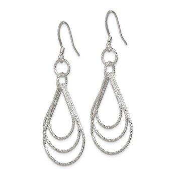 Sterling Silver Textured Shapes Dangle Earrings