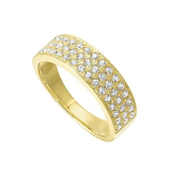 Diamond Triple Row Stackable Ring in 14k Yellow Gold (1/2ctw)
