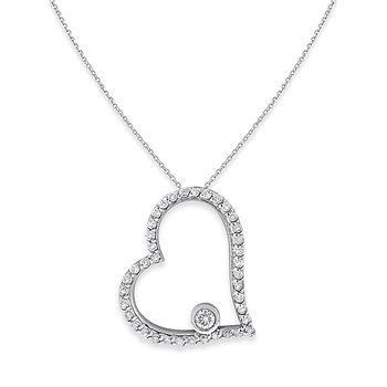 Diamond Open Heart Necklace in 14k White Gold with 40 Diamonds weighing .24ct tw