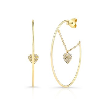 Yellow Gold Dangling Heart Hoop