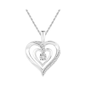 10kt White Gold Womens Round Diamond Moving Twinkle Solitaire Heart Pendant 1/10 Cttw