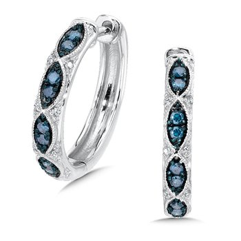 Pave set Blue & white diamond hoop in 14k White gold, (1/4 ct. tw.)