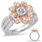 S. Kashi  & Sons Rose & White Gold Halo Engagement Ring