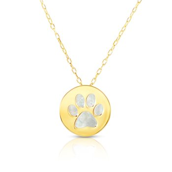 14K Gold Paw Print Mother of Pearl Necklace