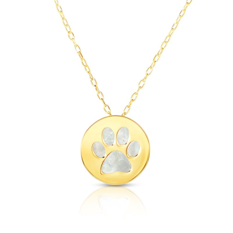 Royal Chain 14K Gold Paw Print Mother of Pearl Necklace