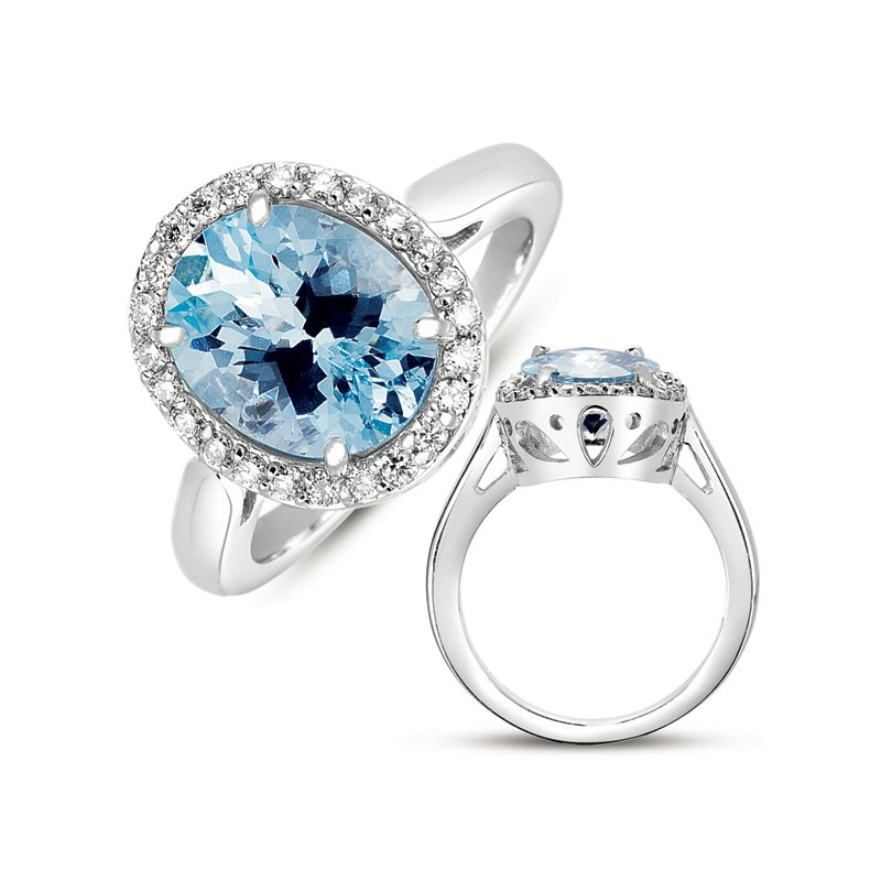 S. Kashi  & Sons Aquamarine & Diamond Ring