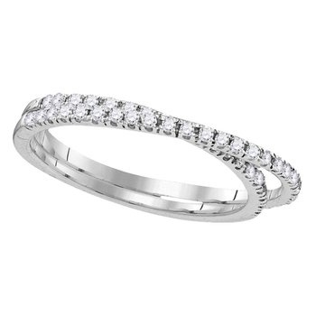 10kt White Gold Womens Round Diamond Double Row Crossover Band Ring 1/4 Cttw