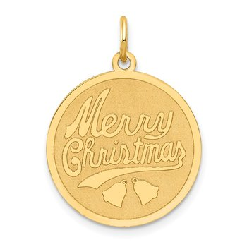 14k Merry Christmas Disc Charm
