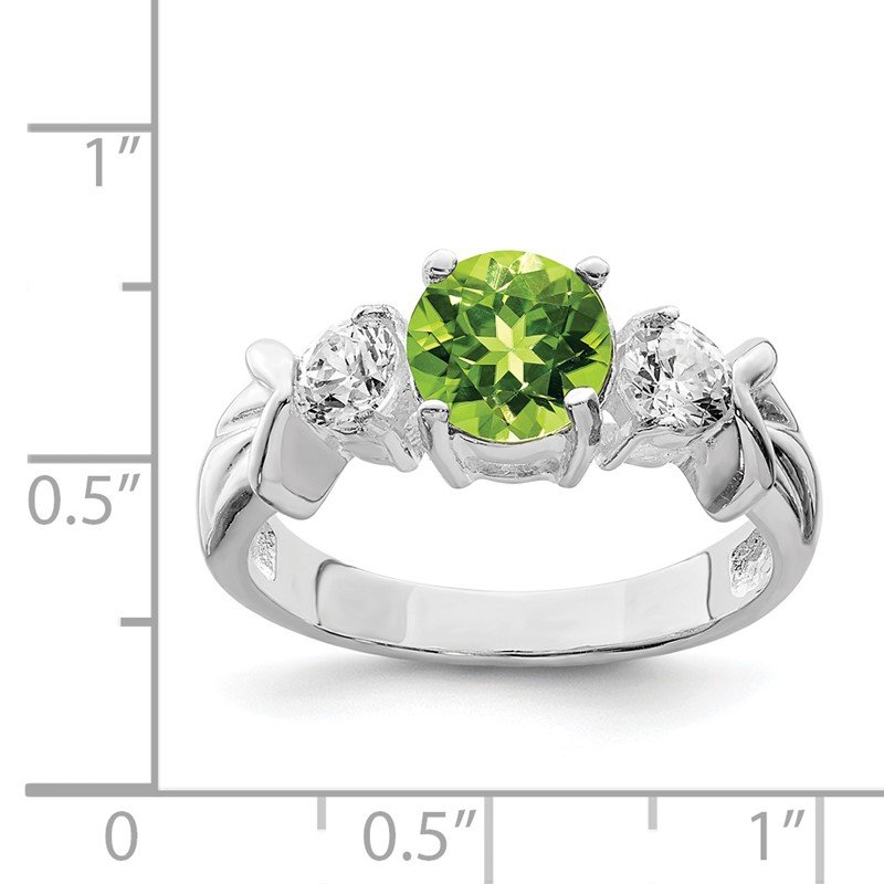 Quality Gold Sterling Silver Rhodium Peridot & CZ Ring