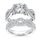 Caro74 Prong Set Round Diamond Criss Cross Engagement Ring in 14K White Gold with Platinum Head (1-1/4ct. tw.)