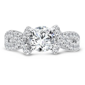 Prong Set Round Diamond Criss Cross Engagement Ring in 14K White Gold with Platinum Head (1-1/4ct. tw.)