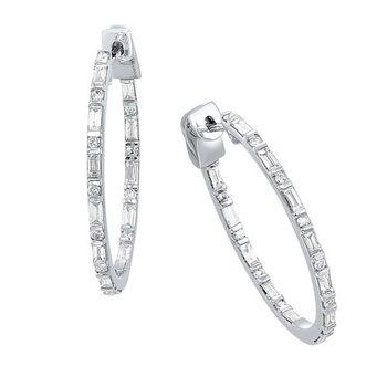 Diamond Inside Out Eternity Hoops in 14k White Gold (1 ctw)