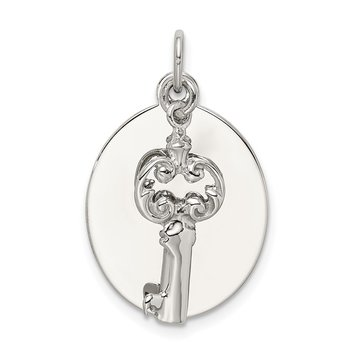 Sterling Silver Rhodium-plated key Charm