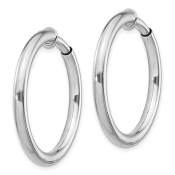 Sterling Silver RH-plated 3x25mm Non-Pierced Hoop Earrings