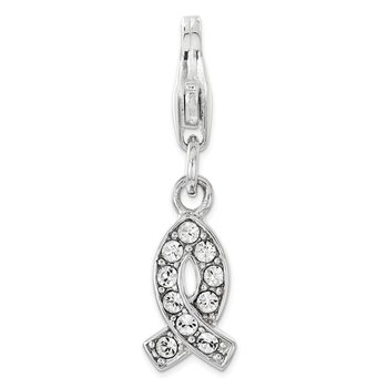 Sterling Silver Amore La Vita Rhod-pl Swarovski Awareness Ribbon Charm