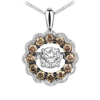 14K Brown Diamond Rhythm Of Love Pendant 3/8 ctw