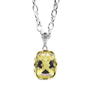 Cushion Cut Smokey Quartz Pendant Necklace (Chain not included)