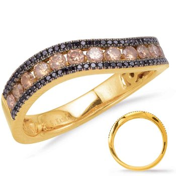 Yellow Gold & Black Diamond Band