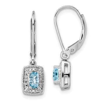 Sterling Silver Rhodium-plated Light Blue Topaz Diamond Earrings