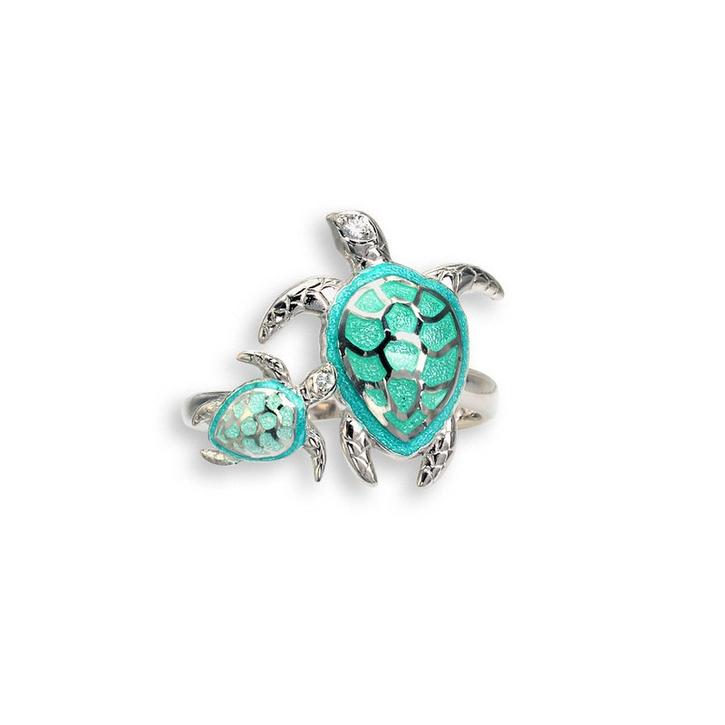 Nicole Barr Designs Green Turtle Ring.Sterling Silver-White Sapphire