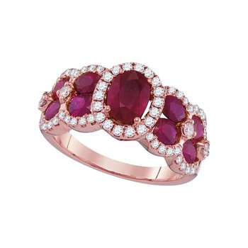 18kt Rose Gold Womens Oval Ruby Diamond Luxury Fashion Ring 3-1/2 Cttw