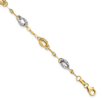 Leslies 14k Two Tone Fancy Link Bracelet