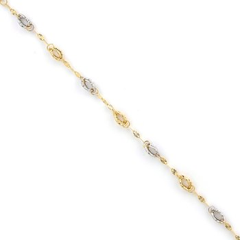 Leslie's 14k Two Tone Fancy Link Bracelet