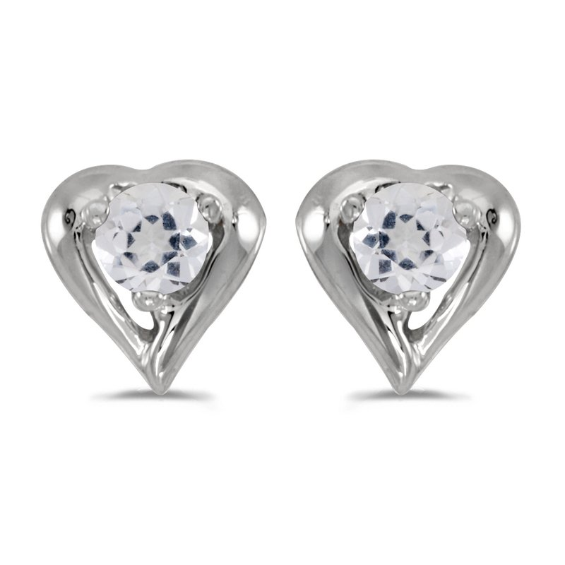 Color Merchants 14k White Gold Round White Topaz Heart Earrings