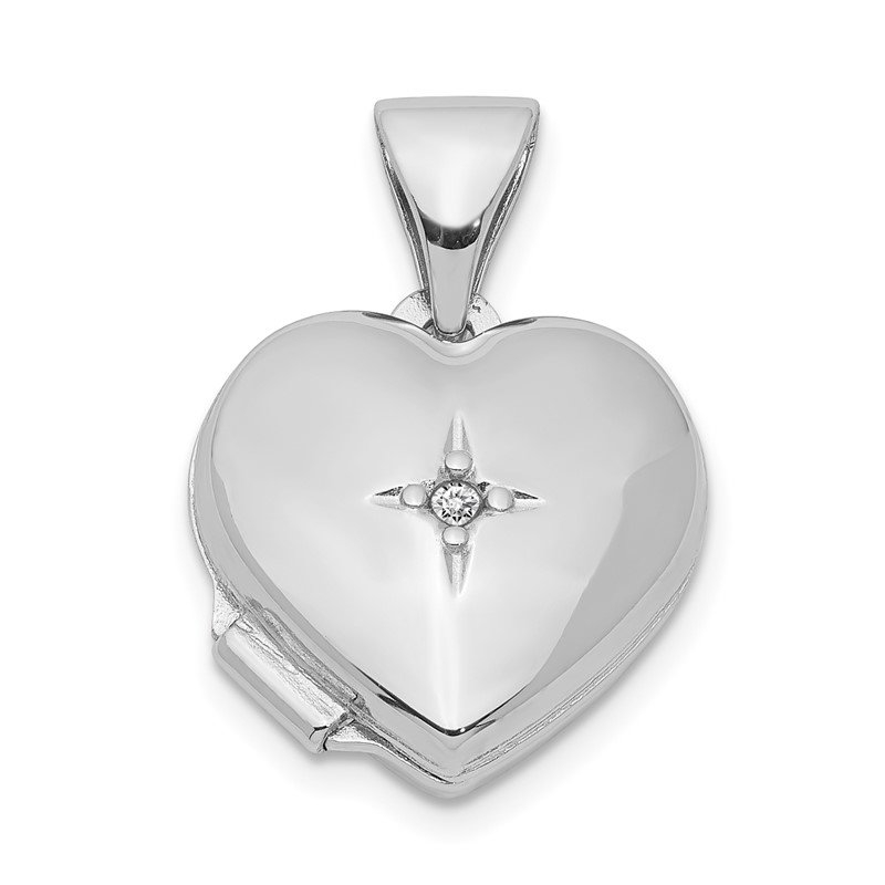 Quality Gold Sterling Silver Rhodium-plated 12mm Heart with Diamond Locket