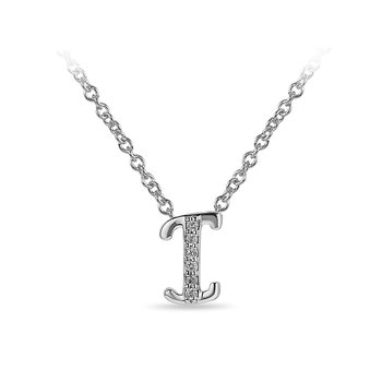 "10K WG and diamond cursive alphabet I ""Chain Sliding "" pendant in prong setting"