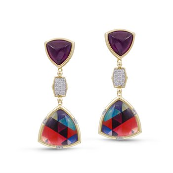LuvMyJewelry Amethyst & Vibrant Mosaic Love Me Not Diamond Earrings in Sterling Silver & 14 KT Yellow Gold Plating